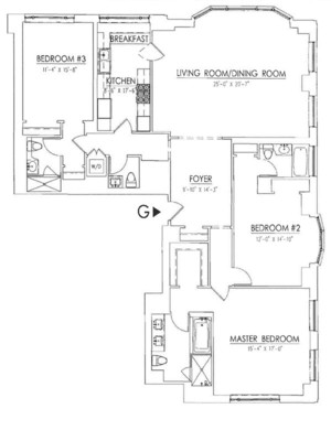 floorplan for 15 Central Park West #15G