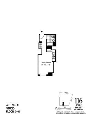 floorplan for 116 John Street #1513