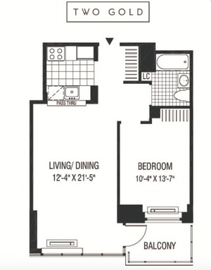floorplan for 2 Gold Street #2108
