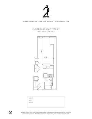 floorplan for 21 West End Avenue #1112