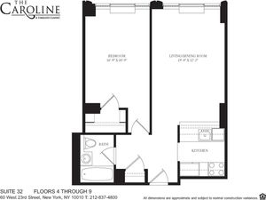floorplan for 60 West 23rd Street #432