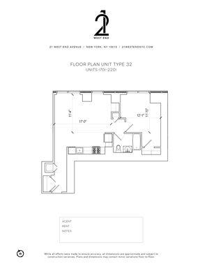 floorplan for 21 West End Avenue #1801