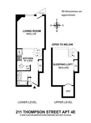 floorplan for 211 Thompson Street #4E