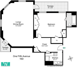 floorplan for 1 Fifth Avenue #16D