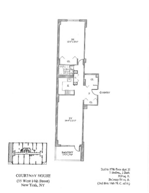 floorplan for 55 West 14th Street #11H