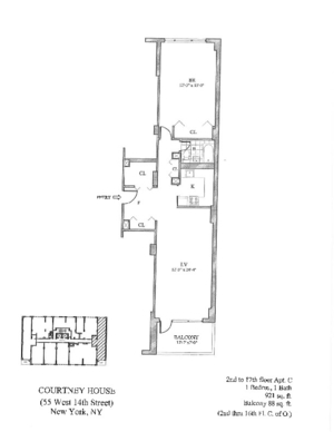 floorplan for 55 West 14th Street #15C
