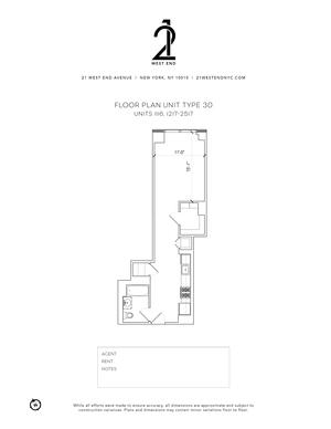 floorplan for 21 West End Avenue #1217