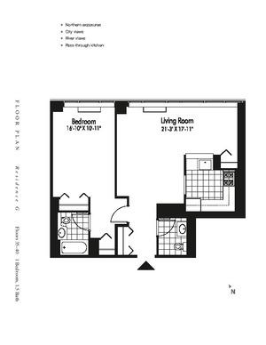floorplan for 601 West 57th Street #36G