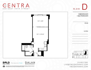 floorplan for 230 East 44th Street #8D