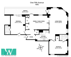 floorplan for 1 Fifth Avenue #16BC