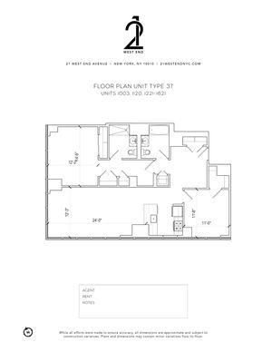 floorplan for 21 West End Avenue #1321