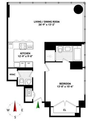 floorplan for 157 West 57th Street #39A