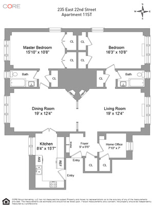 floorplan for 235 East 22nd Street #11