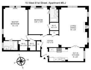 floorplan for 15 West 81st Street #8J