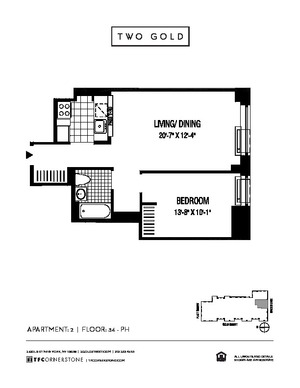 floorplan for 2 Gold Street #3402
