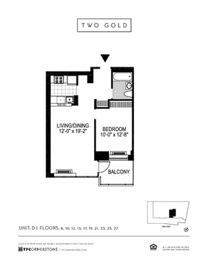 floorplan for 2 Gold Street #23D