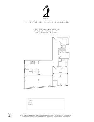 floorplan for 21 West End Avenue #3504