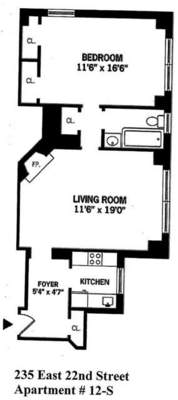floorplan for 235 East 22nd Street #12S