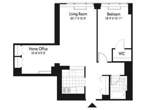 floorplan for 601 West 57th Street #9M