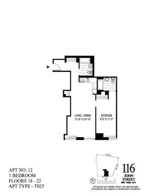 floorplan for 116 John Street #2212