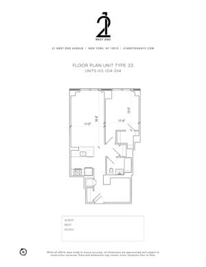 floorplan for 21 West End Avenue #1514