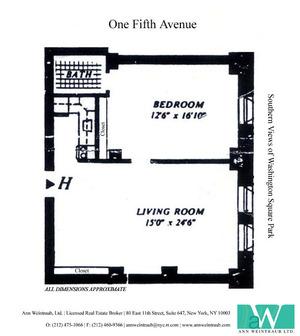 floorplan for 1 Fifth Avenue #12H