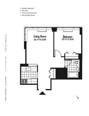 floorplan for 601 West 57th Street #29F