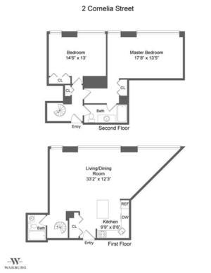 floorplan for 2 Cornelia Street #404