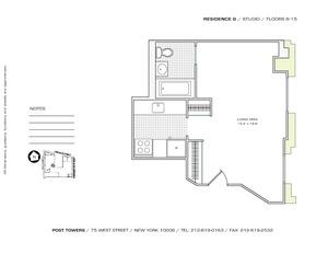 floorplan for 75 West Street #15G