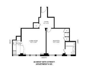 floorplan for 30 West 90th Street #8D
