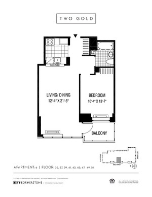 floorplan for 2 Gold Street #5106