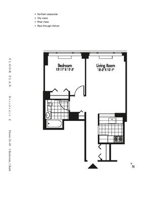 floorplan for 601 West 57th Street #37E