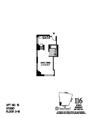 floorplan for 116 John Street #1115