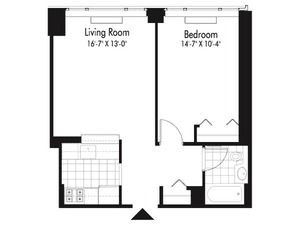 floorplan for 601 West 57th Street #17P