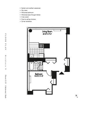 floorplan for 601 West 57th Street #19N