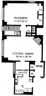 floorplan for 235 East 22nd Street #6T