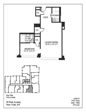 floorplan for 30 Park Avenue #8G
