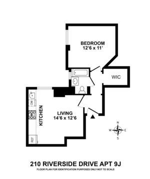 floorplan for 210 Riverside Drive #9J