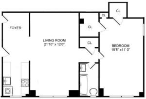 floorplan for 444 Central Park West #3H