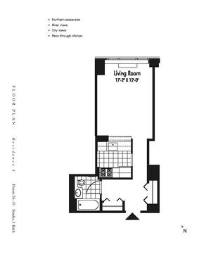 floorplan for 601 West 57th Street #33J