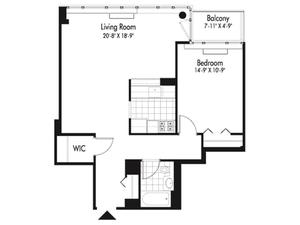 floorplan for 601 West 57th Street #35F