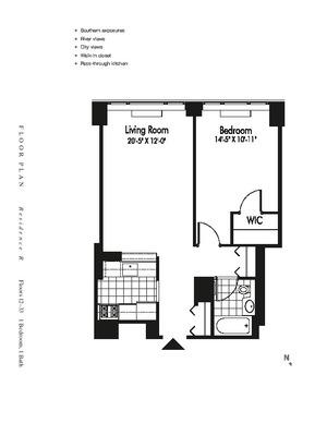 floorplan for 601 West 57th Street #28R