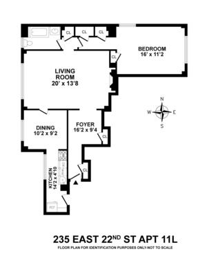 floorplan for 235 East 22nd Street #11L