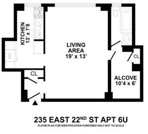 floorplan for 235 East 22nd Street #6U