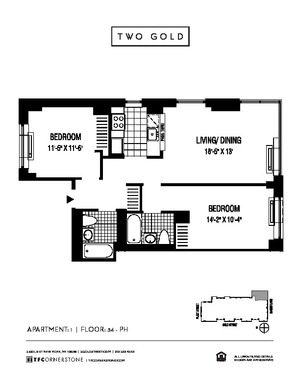 floorplan for 2 Gold Street #5101