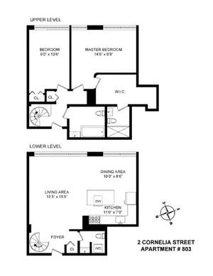 floorplan for 2 Cornelia Street #803