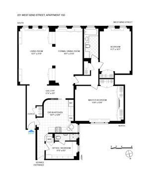 floorplan for 221 West 82nd Street #15D