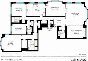 floorplan for 15 Central Park W #28D