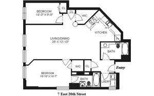 floorplan for 7 East 20th Street #5R
