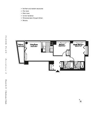 floorplan for 601 West 57th Street #29E